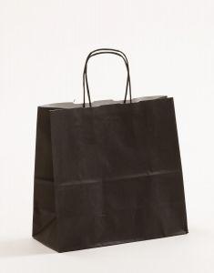 Papiertragetaschen mit gedrehter Papierkordel schwarz 25 x 11 x 24 cm, 100 Stück