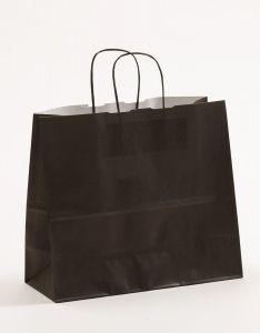 Papiertragetaschen mit gedrehter Papierkordel schwarz 32 x 13 x 28 cm, 050 Stück