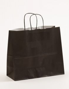 Papiertragetaschen mit gedrehter Papierkordel schwarz 32 x 13 x 28 cm, 150 Stück