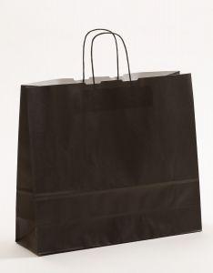 Papiertragetaschen mit gedrehter Papierkordel schwarz 42 x 13 x 37 cm, 050 Stück