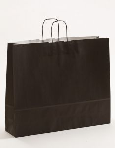 Papiertragetaschen mit gedrehter Papierkordel schwarz 54 x 14 x 45 cm, 025 Stück
