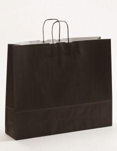 Papiertragetaschen mit gedrehter Papierkordel schwarz 54 x 14 x 45 cm, 050 Stück