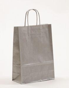 Papiertragetaschen mit gedrehter Papierkordel silber 22 x 10 x 31 cm, 200 Stück