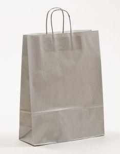 Papiertragetaschen mit gedrehter Papierkordel silber 32 x 12 x 41 cm, 050 Stück