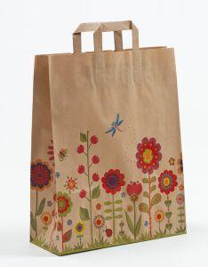 Papiertragetaschen mit Flachhenkel Blumenwiese-Natur 32 x 12 x 40 cm, 100 Stück