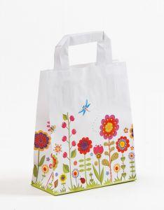 Papiertragetaschen mit Flachhenkel Blumenwiese 18 x 8 x 22 cm, 100 Stück