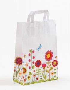 Papiertragetaschen mit Flachhenkel Blumenwiese 22 x 10 x 31 cm, 100 Stück