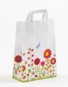 Papiertragetaschen mit Flachhenkel Blumenwiese 22 x 10 x 31 cm, 250 Stück