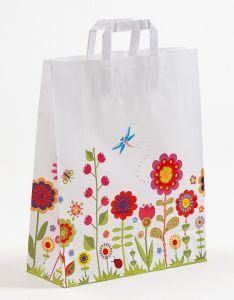 Papiertragetaschen mit Flachhenkel Blumenwiese 32 x 12 x 40 cm, 100 Stück