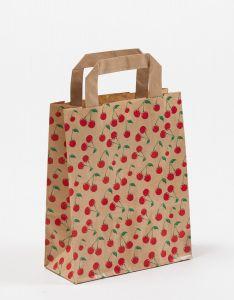 Papiertragetaschen mit Flachhenkel Cherry 18 x 8 x 22 cm, 100 Stück