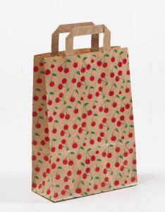 Papiertragetaschen mit Flachhenkel Cherry 22 x 10 x 31 cm, 050 Stück