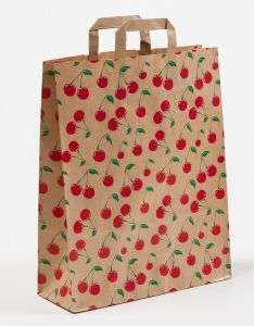 Papiertragetaschen mit Flachhenkel Cherry 32 x 12 x 40 cm, 250 Stück