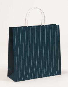 Papiertragetaschen mit Nadelstreifen petrol 38 x 13 x 37 + 6 cm, 150 Stück