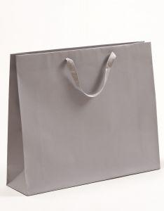 Papiertragetaschen Royal mit Baumwollbändern grau 54 x 14 x 44,5 + 6 cm, 50 Stück