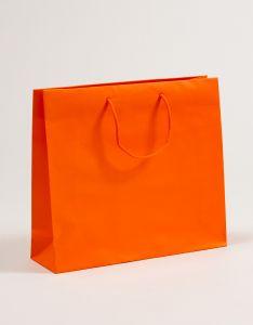 Papiertragetaschen mit Baumwollkordeln orange 40 x 12 x 36 + 5 cm, 75 Stück