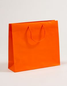 Papiertragetaschen mit Baumwollkordeln orange 40 x 12 x 36 + 5 cm, 010 Stück