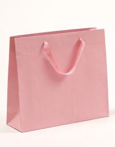 Papiertragetaschen Royal mit Baumwollbändern rosa 42 x 13 x 37 + 6 cm, 25 Stück