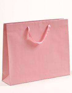 Papiertragetaschen mit Baumwollbändern rosa 54 x 14 x 44,5 + 6 cm, 75 Stück