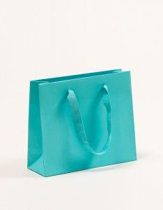 Papiertragetaschen Royal mit Baumwollbändern türkis 24 x 8 x 20 + 5 cm, 010 Stück
