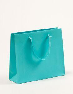 Papiertragetaschen Royal mit Baumwollbändern türkis 32 x 10 x 27,5 + 5 cm, 050 Stück