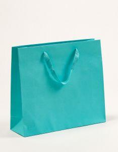 Papiertragetaschen Royal mit Baumwollbändern türkis 42 x 13 x 37 + 6 cm, 050 Stück