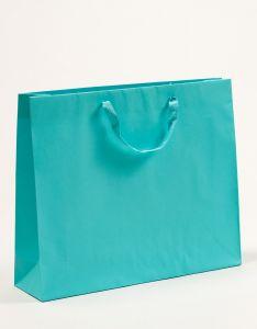 Papiertragetaschen Royal mit Baumwollbändern türkis 54 x 14 x 44,5 + 6 cm, 010 Stück