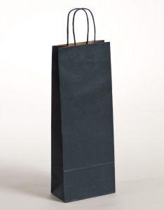 Flaschentaschen Papiertragetaschen mit gedrehter Papierkordel blau 15 x 8 x 39,5 cm, 025 Stück