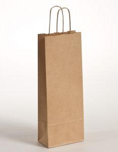 Flaschentaschen Papiertragetaschen mit gedrehter Papierkordel braun gerippt 15 x 8 x 39,5 cm, 100 Stück