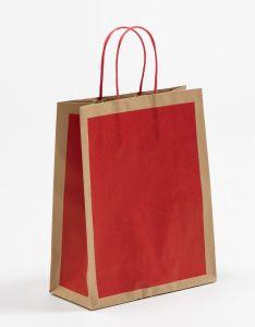 Papiertragetaschen Frame rot 22 x 10 x 27,5 + 5 cm, 100 Stück