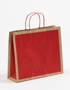 Papiertragetaschen Frame rot 32 x 10 x 27,5 + 5 cm, 025 Stück