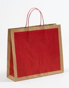 Papiertragetaschen Frame rot 42 x 13 x 37 + 6 cm, 050 Stück