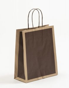 Papiertragetaschen Frame schoko-braun 22 x 10 x 27,5 + 5 cm, 025 Stück