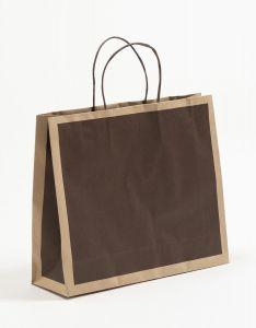 Papiertragetaschen Frame schoko-braun 32 x 10 x 27,5 + 5 cm, 100 Stück