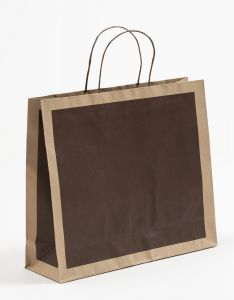 Papiertragetaschen Frame schoko-braun 42 x 13 x 37 + 6 cm, 050 Stück