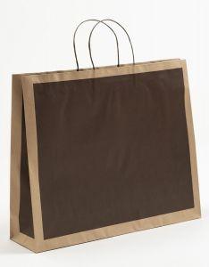 Papiertragetaschen Frame schoko-braun 54 x 14 x 44,5 + 6 cm, 100 Stück