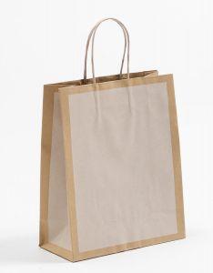 Papiertragetaschen Frame offwhite / altweiß 22 x 10 x 27,5 + 5 cm, 025 Stück