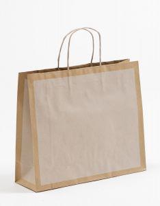 Papiertragetaschen Frame offwhite / altweiß 32 x 10 x 27,5 + 5 cm, 100 Stück