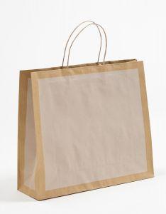 Papiertragetaschen Frame offwhite / altweiß 42 x 13 x 37 + 6 cm, 100 Stück