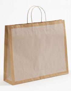Papiertragetaschen Frame offwhite / altweiß 54 x 14 x 44,5 + 6 cm, 100 Stück