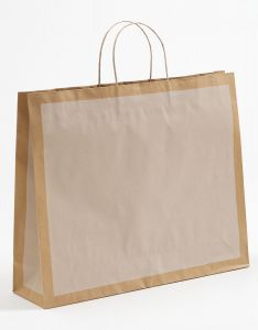 Papiertragetaschen Frame offwhite / altweiß 54 x 14 x 44,5 + 6 cm, 050 Stück
