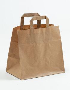 Papiertragetaschen mit Flachhenkel  Gastro braun 26 x 17 x 25 cm, 050 Stück