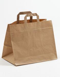 Papiertragetaschen mit Flachhenkel  Gastro braun 32 x 21,5 x 27 cm, 100 Stück