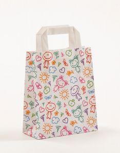 Papiertragetaschen mit Flachhenkel Happy 18 x 8 x 22 cm, 100 Stück