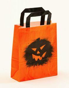Papiertragetaschen mit Flachhenkel Halloween Kürbis 18 x 8 x 22 cm, 050 Stück