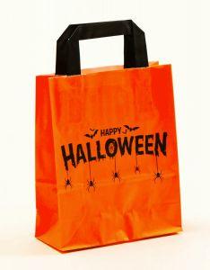 Papiertragetaschen mit Flachhenkel Happy Halloween 18 x 8 x 22 cm, 250 Stück