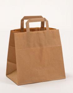 Papiertragetaschen mit Flachhenkel  Gastro braun 26 x 17 x 25 cm, 100 Stück