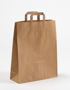 Papiertragetaschen mit Flachhenkel braun 32 x 12 x 40 cm, 100 Stück