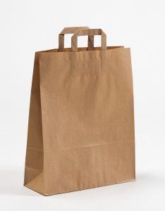 Papiertragetaschen mit Flachhenkel braun 32 x 12 x 40 cm, 150 Stück