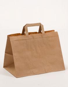 Papiertragetaschen mit Flachhenkel  Gastro braun 32 x 21,5 x 27 cm, 200 Stück