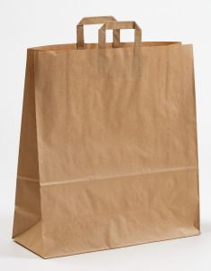 Papiertragetaschen mit Flachhenkel braun 45 x 17 x 48 cm, 025 Stück